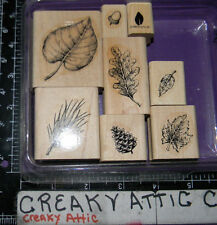 STAMPIN UP FANTASTIC FOLIAGE 8 RUBBER STAMPS LEAVES OAK PINECONE BRANCH ACCORN
