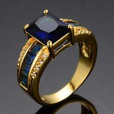 Fashion Luxury 18k Yellow Gold Filled Silver Blue Sapphire Wedding Ring 10#