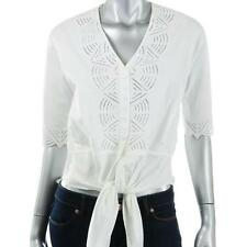 CATHERINE MALANDRINO $359 WHIE POPLIN CUT-OUT HI-LOW TIE BLOUSE TOP SHIRT S NWT
