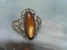 Vintage Ornate Sterling Silver Marked with Thin Oval Orange Dragon's Breath Ring