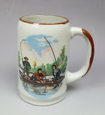 Vintage Currier & Ives design Catching a Trout fishing mug stein 16oz
