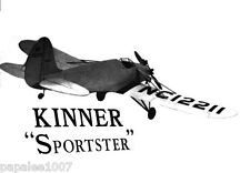 "Model Airplane Plans (RC): KINNER SPORTSTER 1/12 Scale 39"" for .049 Engine"