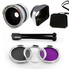 Wide Fish Eye Lens,UV CPL FLD Filter,Hood for Sony Handycam DCR-DVD105,DVD201,US