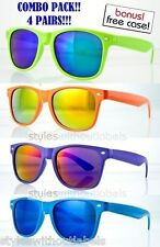 4x 80s Retro NEON Frame Party Sunglasses Fire Blue Mirror Lens Summer Colors!