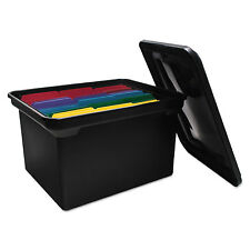 Advantus File Tote Storage Box w/Lid Legal/Letter Plastic Black 34052