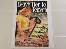 Gene Tierney & Vincent Price SIGNED Paper copy of Leave Her To Heaven Poster