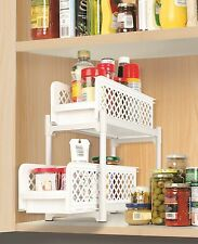 2 Tier Portable Basket Drawers Bathroom Kitchen Space Saving Storage Containers