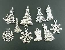 160Pcs New Mixed Silver Tone Christmas Motif Charms Pendants