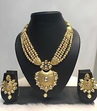 Indian Bollywood Gold Plated CZ Kundan Pearl Fashion Jewelry Necklace Set