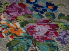 "VINTAGE FLORAL NEEDLEPOINT, ROUND 12"" DIAMETER, BEAUTIFUL CLASSIC FLORAL DESIGN"