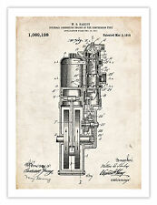 FIRST HARLEY MOTORCYCLE ENGINE INVENTION POSTER 1914 US PATENT PRINT 18X24 HD...