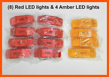 (8) RED & (4) Amber Lights 2 LED's 1 x 4 surface mount Clearance marker trailer