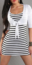 SeXy Miss Damen 2 Teiler Bolero Stripes Mini Kleid Long Top 34/36/38 weiß