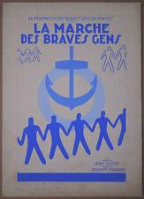 GOUACHE Originale Partition JEAN GUIGO Marche Braves Gens GUY-GÉRARD NOËL c.1940
