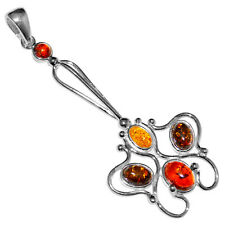 5.47g Authentic Baltic Amber 925 Sterling Silver Pendant Jewelry A1750