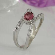 Ring in 585/- Weißgold mit 1 rosa Turmalin ca 1,00 ct + 26 Diamanten  0,19 ct