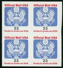 "#O148 ""OFFICIAL MAIL USA"" BLOCK OF 4 IMPERF (PW) OG NH ERROR BT5738"