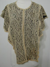Vintage Ecru Bobbin Lace? Asymmetrical Cut Back Snap Close Open Caplet