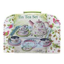 Children Bird Tin Tea Set 14pc w/ Carry Case Tea Pot Tray Cup Pretend Play Toy
