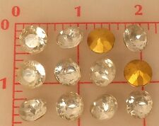 48 vintage glass faceted yellowed clear pointed back rhinestones 11.5mm 48ss