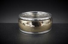 James Avery Sterling Silver 14k Gold Hammered Classic Wedding Band WB-68 RS1459