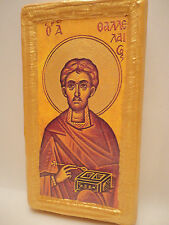Saint Thallelaeus Thallelaios Greek Eastern Orthodox Icon Gold Art on Pine Wood