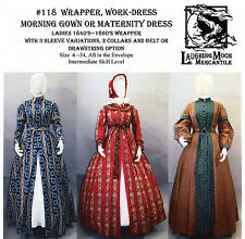 1840-60s Wrapper, Morning Gown, Maternity & Work Dress Laughing Moon Pattern 118
