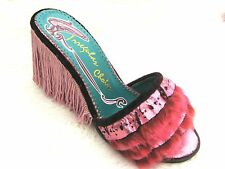 Irregular Choice Metallic Pink Fun Fur Fringed Tassel High Heeled Mules Shoes 5