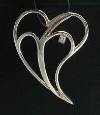 STERLING SILVER PENDANT SOLID 925 BIG HEART CZ PE000696