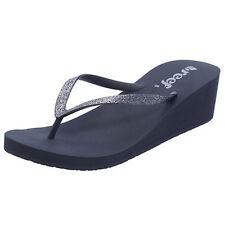 REEF Ladies Charcoal-Grey Krystal Star Wedge Thongs Flip Flops Size 11 Brand New
