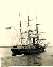 NEW BEDFORD WHALE SHIP & STEAM TUGBOAT VINTAGE WHALING PHOTO PROBABLY BY CHURCH