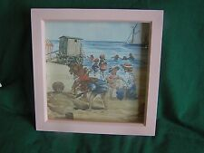 Hand Made Picture  - Vintage Laura Ashley Border Pink Bathing Hut