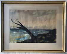 Mid Century Watercolor PAINTING Surrealism OCEAN Coast SEASCAPE Expressionism