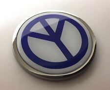 PEACE 3D Domed Emblem Badge Car Sticker METAL Chrome Bezel ROUND 3 3/8""
