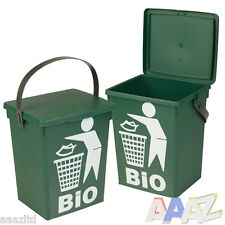 Plastic Green 5L Small Food Recycling Bin Lid Kitchen Worktop Waste Rubbish