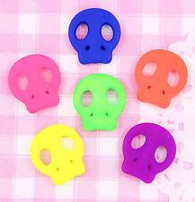 6 x Halloween Bright Neon Skull Beads Cabochons Decoden Jewellery Making Craft