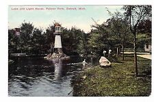 LAKE AND LIGHT HOUSE   PALMER PARK---DETROIT MICHIGAN--- POSTCARD
