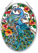 AMIA STAINED GLASS SUNCATCHER 6.5 X 9 OVAL PEACOCK    #8251