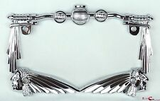 3D HANDLE BAR INDIAN CHIEF CHROME METAL MOTORCYCLE LICENSE PLATE FRAME TRIUMPH