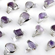 Fashion 10Pcs Bulk Amethyst Purple Gemstone Stone Silver Plated Rings Jewelry