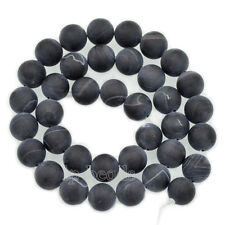 Natural Matte Frosted Stripe Agate Gemstone Round Beads 6mm 8mm 10mm 12mm 15.5''
