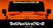 The Punisher Slanted windshield banner decal jeep size w skulls