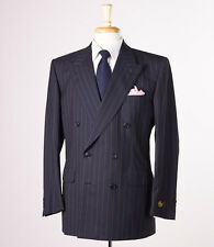 NWT $3295 BELVEST Black Stripe Super 100s Wool Suit 40 R Double-Breasted