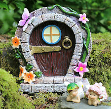LARGE Fairy Door Elf Pixie Garden Ornament Hobbit with Two Laying Flower Fairies