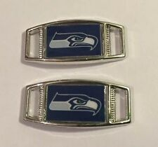 PAIR OF NFL SEATTLE SEAHAWKS BLUE RECTANGLE SHOELACE PARACORD BRACELET CHARMS