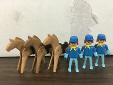 Playmobil System B Cowboy Soldiers W/ Horses