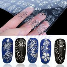 108Pcs 3D Silver Flower DIY Nail Art Stickers Decals Stamping Decoration Tools