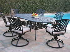 Outdoor Cast Aluminum Patio Furniture 7 Piece Dining Set with 6 Swivel Rockers