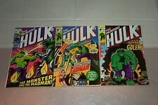 THE INCREDIBLE HULK LOT OF 3 --  #134, #138 & #144 ALL VERY NICE