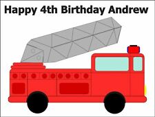 A4 CARTOON FIRE ENGINE BIRTHDAY CAKE TOPPERS PERSONALISED ON EDIBLE RICE PAPER